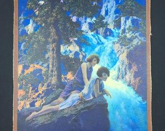 Vintage 1932 Maxfield Parrish cardboard print Waterfall Edison ad