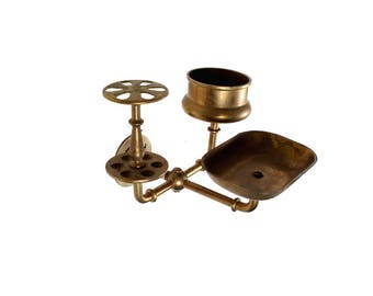 Vintage Brass Bathroom Accessory Holder