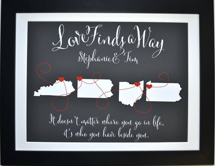 Any four states map personalized long distance military wedding