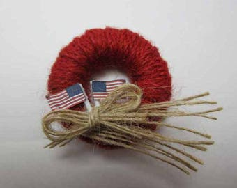 4th of July Wreath - dollhouse miniature 1:12 scale