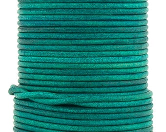 Xsotica® Turquoise Natural Dye Round Leather Cord 2mm 25 meters (27 yards)