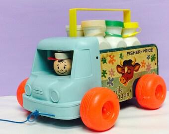 Vintage Fisher Price, Milk Wagon, Pull Toy, Fisher Price Car, Milk Man, FP #131, 1960s Fisher Price, Vintage Toys, Milk Bottles Toy,Cute Toy