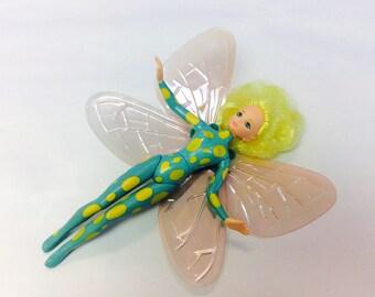 Fairies of Cottingley Glen, Toy Fairy Doll, 1990s Girl Toys, Playmates Fairy 1997, Yarthkins Fairy Doll, Green Yellow Fairie, Vintage Toys