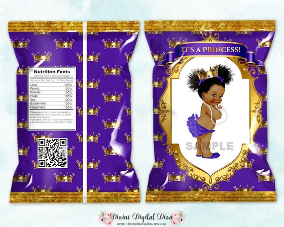 Printable Chip Bags Princess Purple Amp Gold African