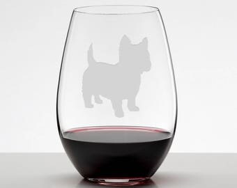 West Highland White Terrier, Westie Etched Wine Glass, Stemless Wineglass