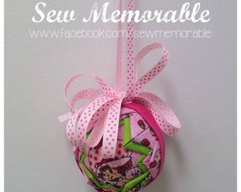 Hand quilted Christmas Bauble - Strawberry Shortcake
