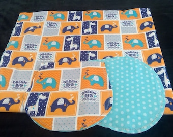 Elephants, giraffes with blue polka dot Backing Hemstitched Baby Blanket and Burps ready for you to crochet by Lindas Hemstitching