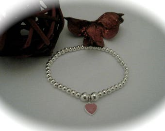 Sterling Silver Bead & pink enamel heart Charm Stretch Bead Bracelet Daughter Girl