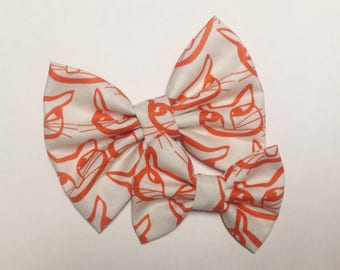 Scandinavian Cat Bow | Fabric Bow | Handmade Hair Bow | Hair Clip | Headband