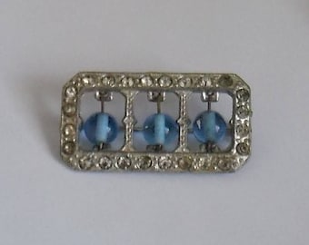 Vintage Beaded Brooch. Blue Bead Brooch. Art Deco Brooch.