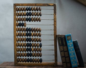 Wooden abacus big Wooden decor wall hanging Rustic Counting frame Vintage calculator office decor vintage industrial decor abacus beads