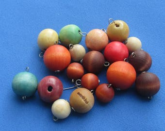 Lot Of Salvaged Multi  Colored Wood Composite Large Beaded Dangles Beads