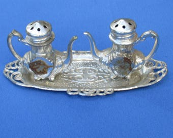 Vintage Silver Plated Teapot Shaped Salt & Pepper Shakers With Tray Japan TLC