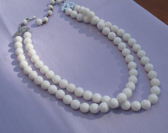 Vintage Hong Kong Two Strand Graduated Length White Plastic Beaded Necklace TLC