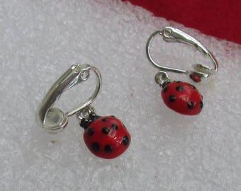 Vintage Ladybug Dangling Clip On Earrings