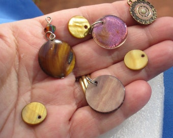 Lot Of Salvaged Dyed Shell Glass Enameled Round Dangles