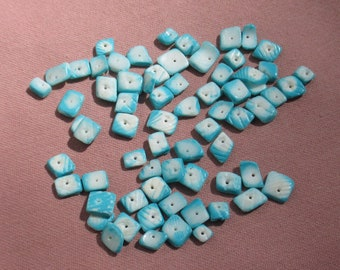 Lot Of Salvaged Dyed Blue Shell Chip Beads