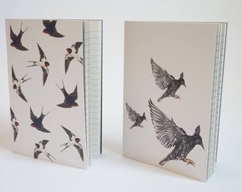 Pack of 2 A6 Notebooks - Swallow & Starling print Notepads, Sketchbooks.