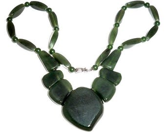 Nephrite Jade Necklace Russian Siberian Stone