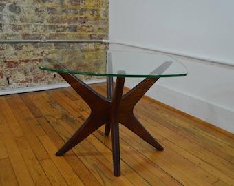 "Adrian Pearsall for Craft Associates Walnut & Glass ""Jacks"" End Table"