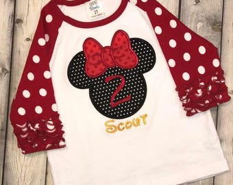 Minnie Mouse ruffle shirt Polka dot Minnie birthday shirt Ruffled sleeve Disney shirt with name for baby toddler girl Size 2t 3t 4t 5 6 8
