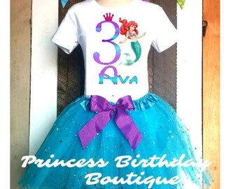 Mermaid Princess Ariel 2T 3T 4/5 6 7/8 10/12 Personalized Birthday Party Tutu Tshirt Outfit set blue all ages 2 3 4 5 6 7 8 9 10