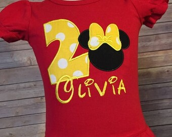 SALE Girls Minnie Number Tee - Any Number - Birthday Tee - Number Tee - Minnie Mouse Birthday