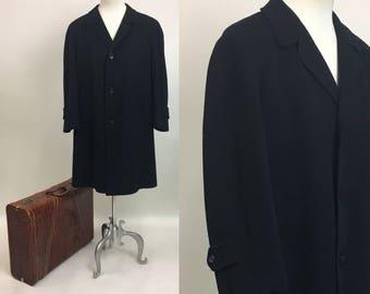 Vintage Mens Cashmere Coat / vintage 1960s Mens Black Cashmere Overcoat / size XL