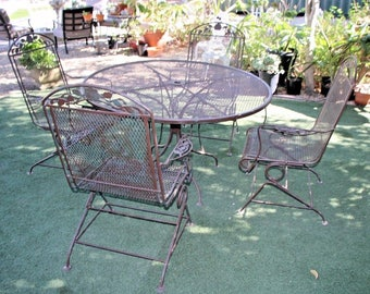 Vintage Retro Large Five piece Iron Patio Set English Rose Garden Theme safe Nationwide shipping available please call for rates