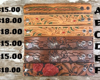 Hand tooled Western leather belt cuff