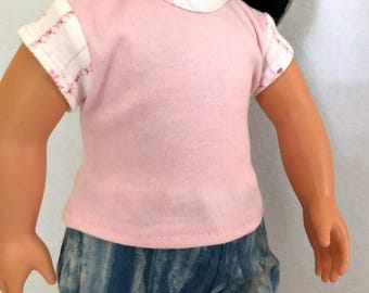 Pink 18 inch Doll Jersey - Pink Doll Clothes - Pink Doll Tee Shirt - Pink Doll Outfit - Doll Clothing - Gift for Girls - Doll T Shirt