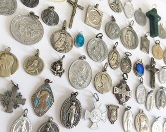 Vintage French Religious Medals Lot of 60 Antique Holy Medals Saints Medals