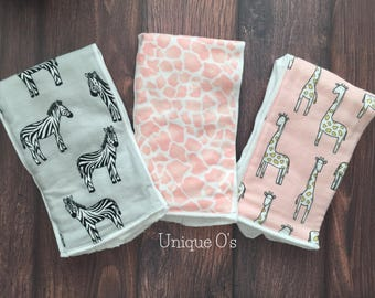 Burp cloth trio...zebras, giraffes and animal print, pink and grey, ready to ship!  New baby, new mom, baby shower gift!  Soft flannel.
