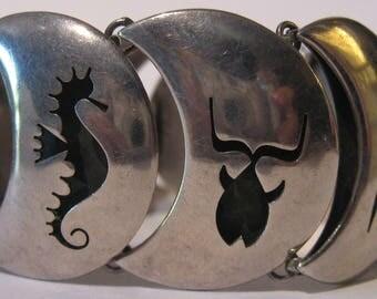 TAXCO MEXICO VINTAGE sterling seahorse fish pelican sea creatures bracelet*