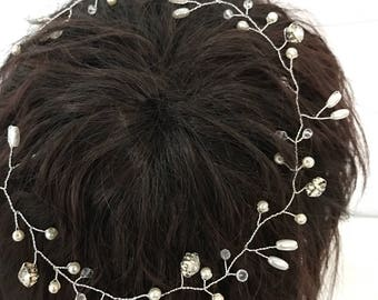 beautiful elegant handmade wedding bridal flower hair piece  bridal hair accessory wedding headpiece