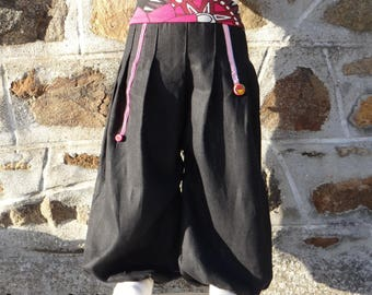 Arabian night black and shades of pink, personalized harem pants.
