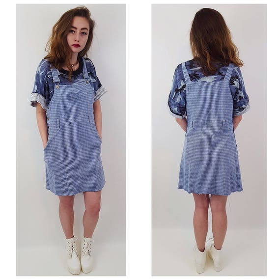 90's Blue Plaid Overall Jumper Mini Dress XSmall - Blue White Grunge Dress - 1990s Womens Overalls Strap Minidress - Spring Summer Style
