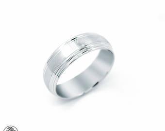 Wedding Ring, Plain Wedding Band, Satin Finish Band, Men's Wedding Band, White Gold Wedding Band, Simple Wedding Band | MR01147