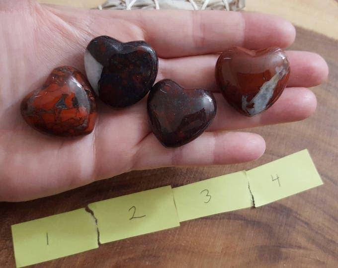 Brecciated Jasper ~ one 30mm Reiki infused crystal heart