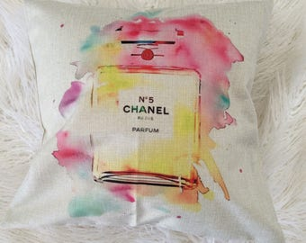 "Perfume watercolor print pink, turquoise, yellow pillowcase throw pillow pillow cover 20""x20"" Chanel"