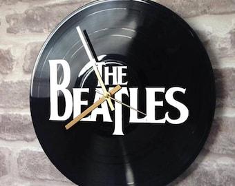 "Vinyl Record Wall Clock 12"" - The Beatles Logo Abbey Road Black Gloss Stencil Handmade"