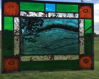 Stained Glass landscape panel - original painted landscape green, orange, teal floral accents stained glass window panels window hanging