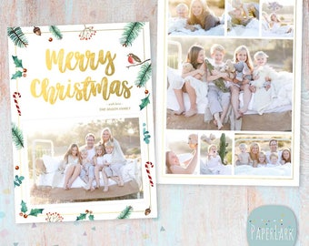 Christmas Card Template - Photoshop template - AC092 - INSTANT DOWNLOAD