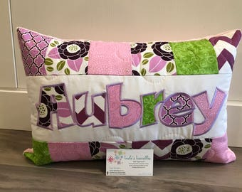 Pink, purple girls floral pillow case, personalized 12x18 inches