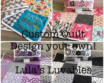 Custom baby quilt, design your own, quilt and pillow set