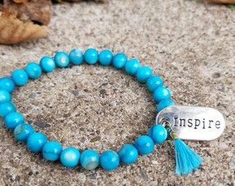 Aqua Inspire Charm Bracelet With Tassel