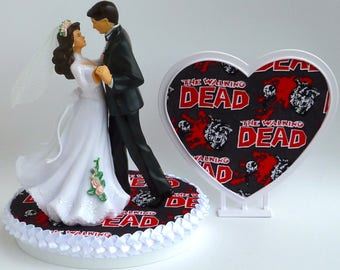 Wedding Cake Topper the Walking Dead Bride Groom Dancing Themed Zombies Heart Background w/ Bridal Garter Funny Humorous Pretty Cake Top