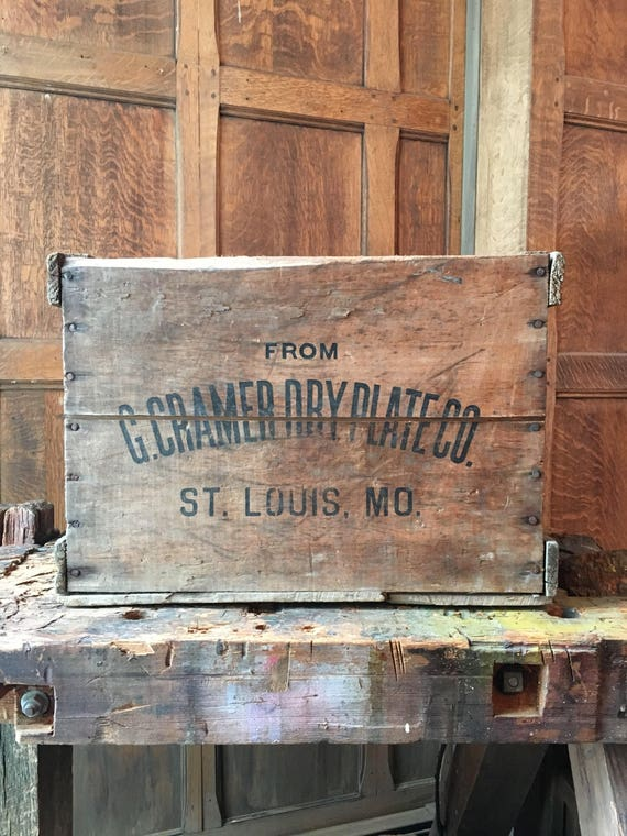 Vintage Wood Crate, G. Cramer Dry Plate CO, St. Louis, Missouri, Record Storage, Vinyl Storage, Wooden Box