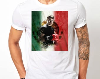 Canelo Alvarez with Flag Boxing Mens Graphic T- Shirt - Tee - Free Shipping