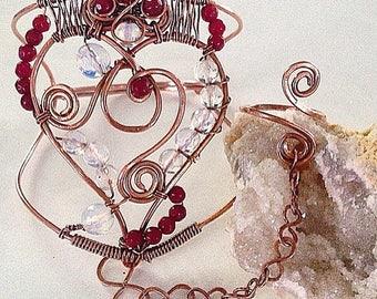Queen Of Hearts Bracelet Ring Slave Bracelet Gemstone Cuff